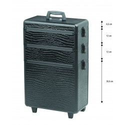 Trolley valise aluminium modular croco noir.