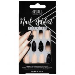 Set 24 faux ongles amandes rose-noir