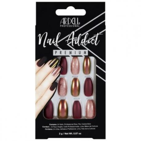 Set 24 faux ongles prune holographique