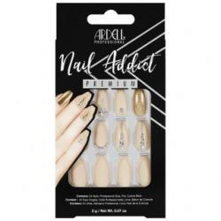 Set 24 faux ongles nude doré