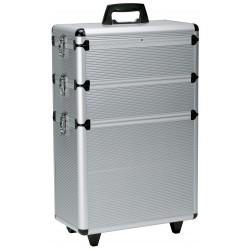 Trolley valise aluminium modular argent